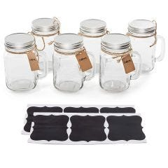 Vintage Mason Jar Mugs With Chalkboard Labels, Regular Mouth - Case of 24
