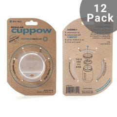 Cuppow Canning Jar Drinking Lid | Regular Mouth | Case of 12 | Clear (Jar not included)