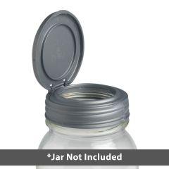 a silver reCAP FLIP lid on a mason jar
