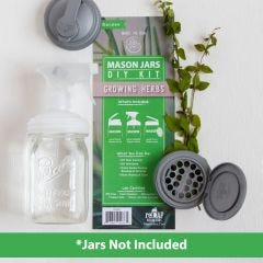 reCAP's DIY Herb Kit showing a sprayer lid on a mason jar, a silver pour lid, and a flip/shaker lid on top of the packaging insert