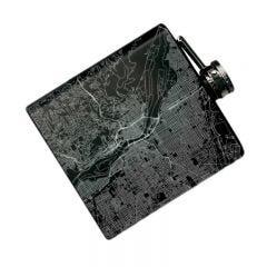 Map Engraved Hip Flask in Matte Black, 6 oz. - Case of 4