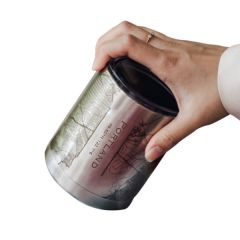 Engraved Map Stainless Steel Insulated Cup with Lid, 10 oz. - Case of 4