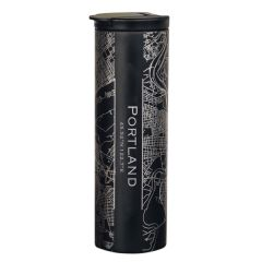 Engraved Map Matte Black Stainless Steel Tumbler, 17 oz. - Case of 4