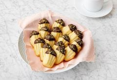 Madeleines with Orange Blossom with Dark Chocolate and Pistachios