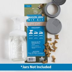 reCAP's DIY Dog Care Kit showing a sprayer lid on a mason jar and two reCAP flip lids next to dog treats