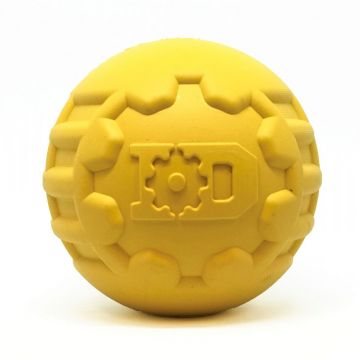 Industrial Dog by SodaPup - Natural Rubber Ultra-Durable Chew Ball - Chew Toy -Made in USA - For The Most Aggressive Chewers - Yellow - Large