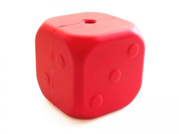 MuttsKickButt by SodaPup - Natural Rubber Roll of the Dice Treat Dispensing Chew Toy - Made in USA - Slow Feeder - For Heavy Chewers - Red
