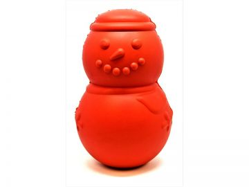 SodaPup MuttsKickButt Snowman Shaped Natural Rubber Chew Toy and Treat Dispenser for Aggressive Chewers, Guaranteed Tough, Made in USA, Large Red