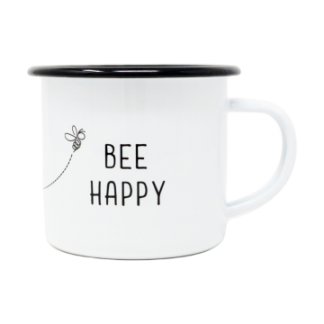 12oz Enamel Bee Happy Mug- Case of 4