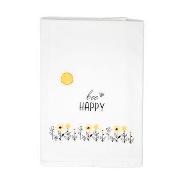 100% Cotton Tea Towel- Bee Happy- Case of 4