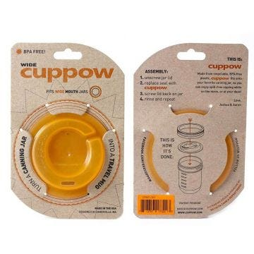 Cuppow Mason Jar Drinking Lid | Wide Mouth | Original Orange | Case of 12 (jar not included)