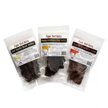 Hot Garlic, Sweet Molasses and Chipotle Lime Beef Jerky 3.5 oz bags