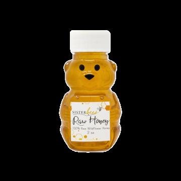 100% Raw Michigan Wildflower Honey 2oz bear- Case of 6