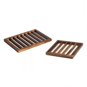 Handcrafted wooden trivets, set of 2.