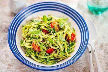 Zesty Zucchini Noodles With Green Tea Pesto