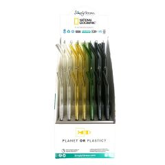 Simply Straws National Geographic POP Display - Stocked with 42 Glass Straws