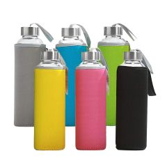 Glass Water Bottles with Multicolored Neoprene Sleeves - Case of 36