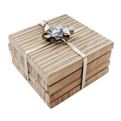 Veneer Wood Coasters 4 Pack - Case of 5