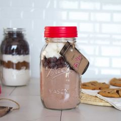 Hot Chocolate Cake Cookie Mix in a Mason jar