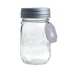 reCAP® Mason Jars FLIP & Ball Pint Jar, Regular Mouth, Silver - Case of 12