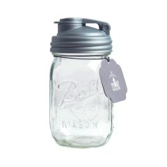 reCAP® Mason Jars POUR & Ball Pint Jar, Regular Mouth, Silver - Case of 12