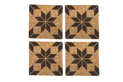 Eight-Pointed Large Star Quilt Pattern Cork Coasters, Case of 6