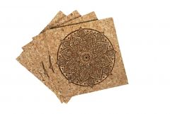 Mandala Cork Coasters - Eco-Friendly Coasters - Case of 6
