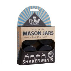 reCAP® Mason Jars lid Shaker Minis, Mini Mouth, Black, 4 Pack - Case of 6