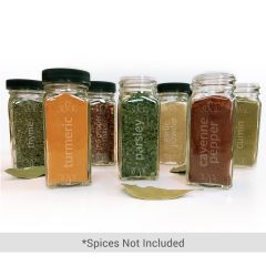 Glass Etched Spice Jars, Pack of 12
