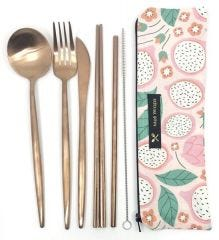 Reusable Eco-Pack Travel Stainless Steel Cutlery Utensil Set - Case of 4