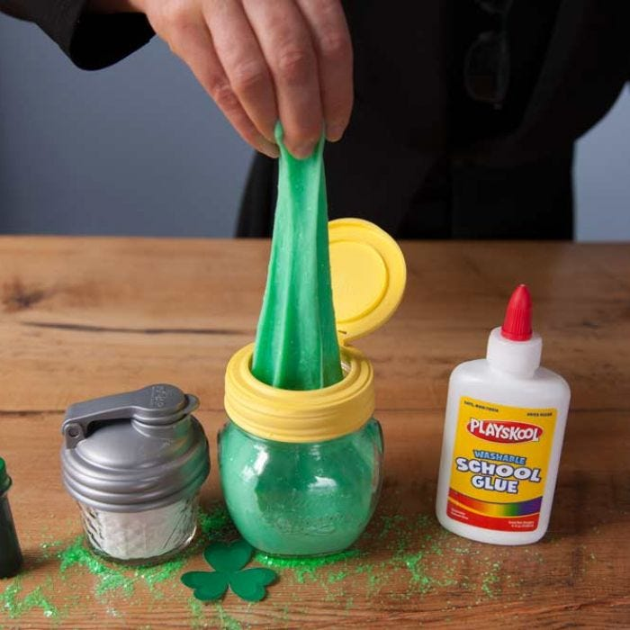 "St. Patrick's Day ""Lucky"" Slime in a Mason Jar"